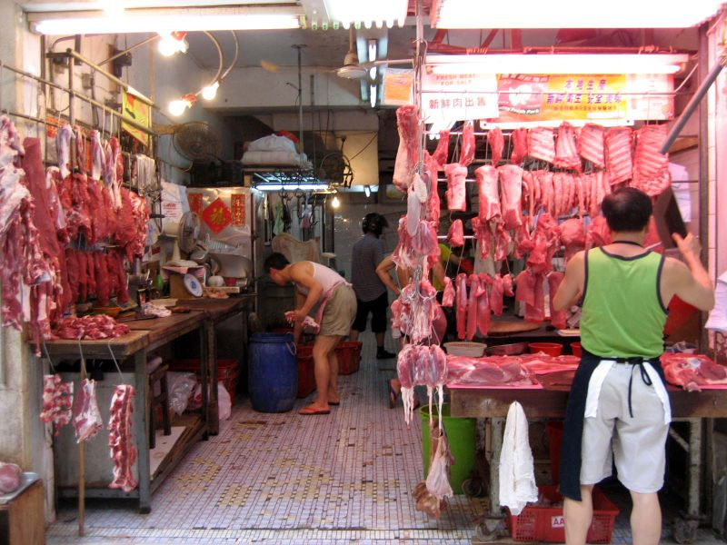 wet market with meat in China