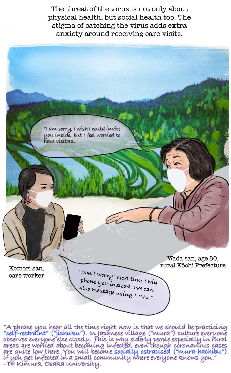 cartoon image of two woman talking about fears of catching COVID-19 from Care workers