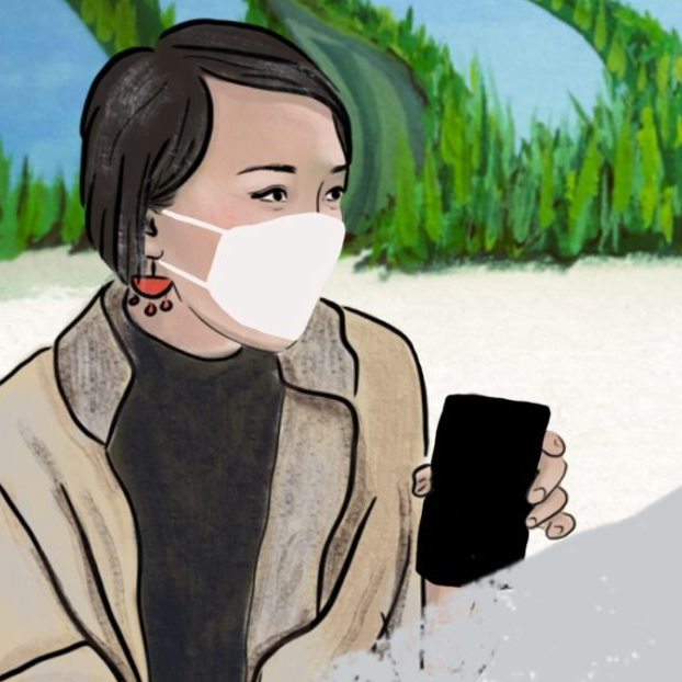 cartoon of young Asian woman with smart phone