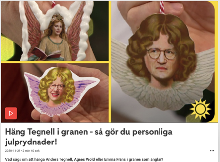 Satire images of woman with angel wings