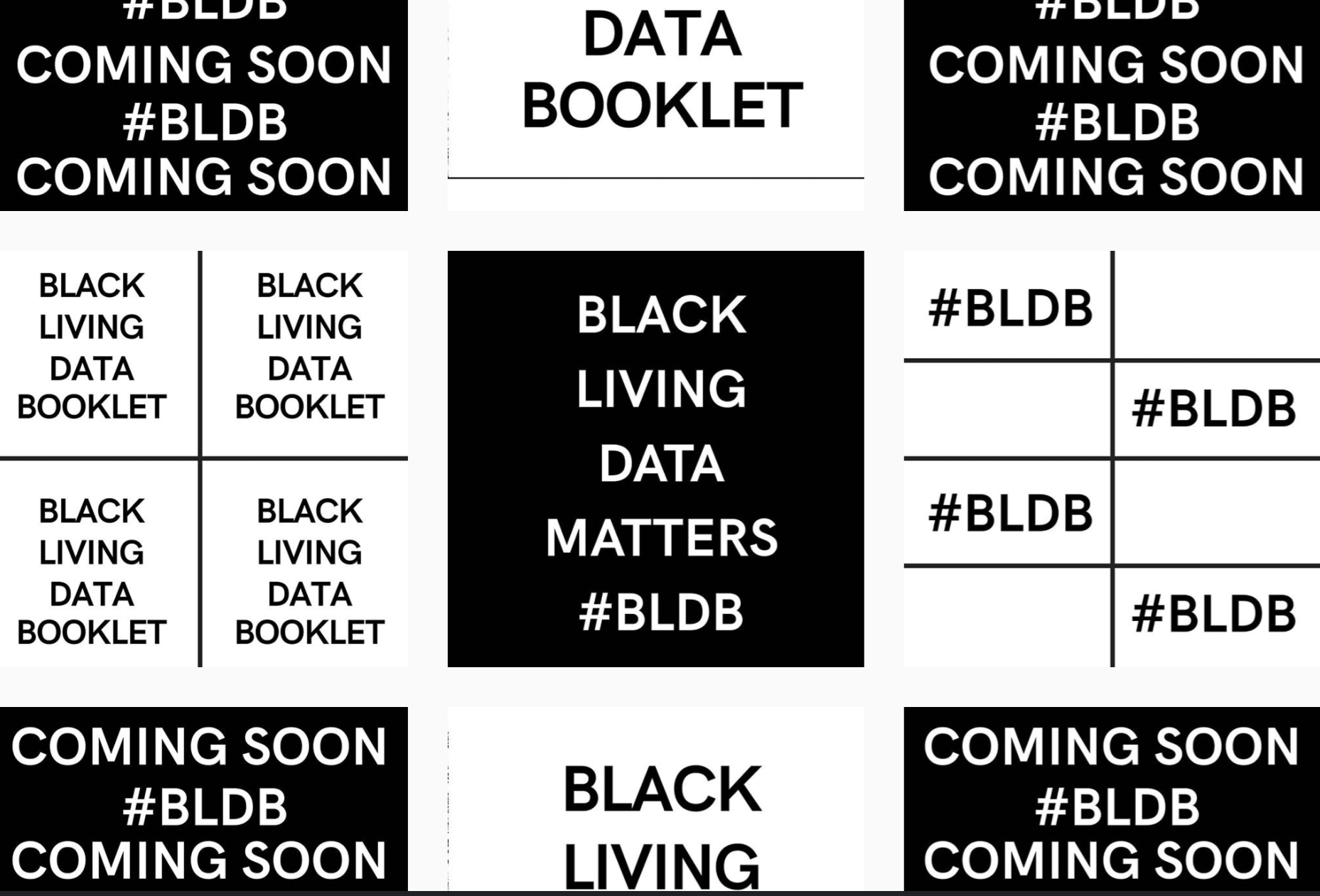 Collage of text-based images from the Black Living Data Booklet that read 'Black Living Data Matters #BLDB', 'Black Living Data Booklet', and '#BLDB Coming Soon'